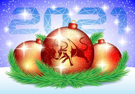 Christmas balls with bull symbol of 2021 on winter background. Иллюстрация