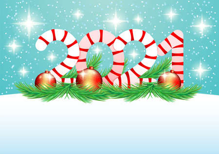 Christmas 2021 illustration with Christmas balls and fir branches on blue background.