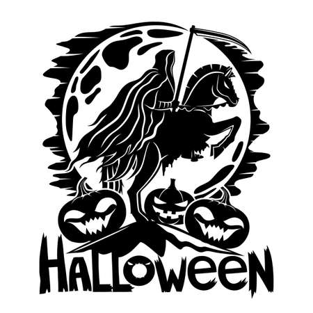 Halloween icon with death horseman and pumpkins on the background of the moon.