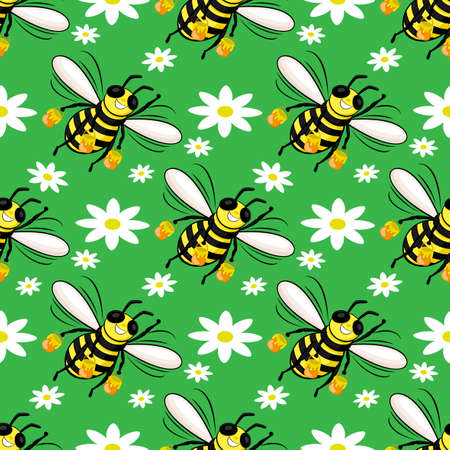 Seamless pattern with bees and flowers on a green background.