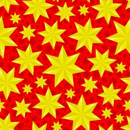 Festive seamless pattern with yellow stars on red background.