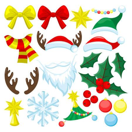 Christmas set for decoration on white background. 向量圖像