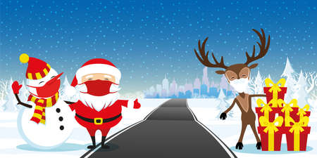 Santa Claus with a snowman and a deer in protective masks are standing with gifts by the road to the city.