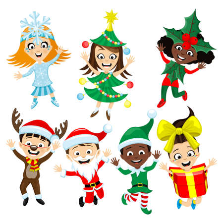 Set with children in Christmas costumes on a white background. 向量圖像
