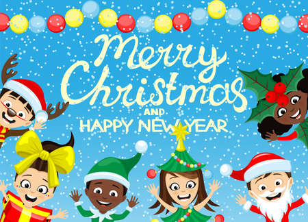 Christmas illustration with children in festive costumes and congratulations on blue background.