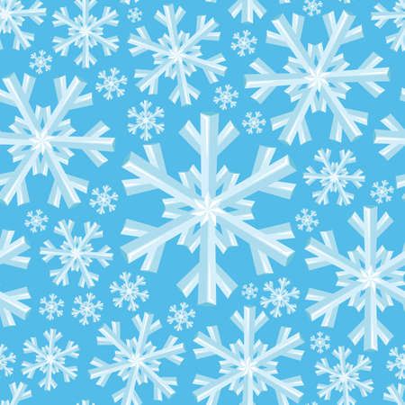 Seamless pattern with snowflakes on a blue background. 向量圖像