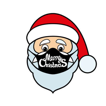 Christmas icon with Santa Claus in protective mask isolated on white background.