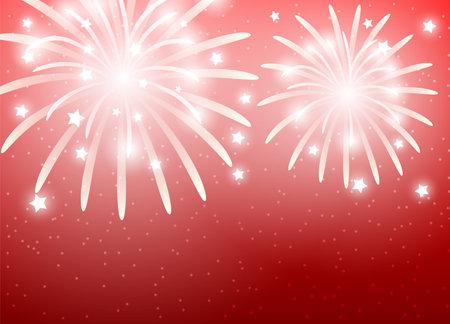 Illustration with festive fireworks on red background.