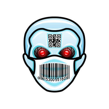 Robot head icon in protective mask on white background.