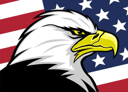 Illustration of American eagle with USA flag background.