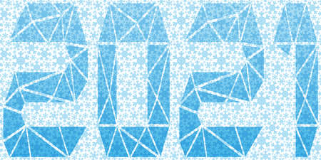 Festive banner with blue snowflakes and 2021 on a white background.