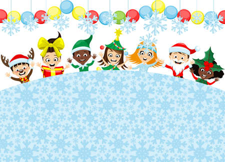 Christmas background with cheerful children in festive costumes isolated on white background.