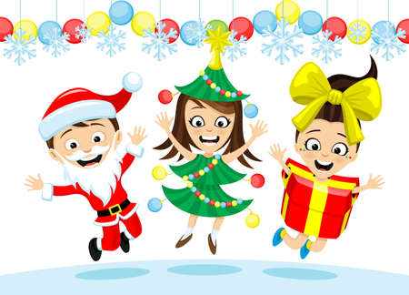 Happy kids in Christmas costumes on white background.