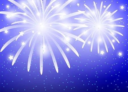 Illustration with festive fireworks on a blue background. 向量圖像