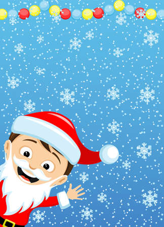 Christmas banner with Santa Claus on blue winter background. 向量圖像