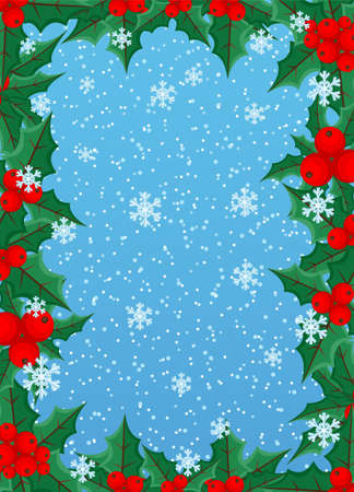 Christmas frame made of holly leaves with berries on blue winter background.