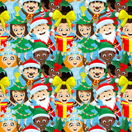 Seamless Christmas pattern with children in festive costumes on blue background. 向量圖像