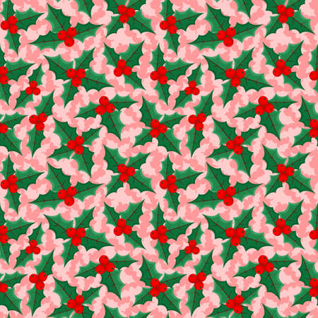 Christmas background with holly berries on a pink background.
