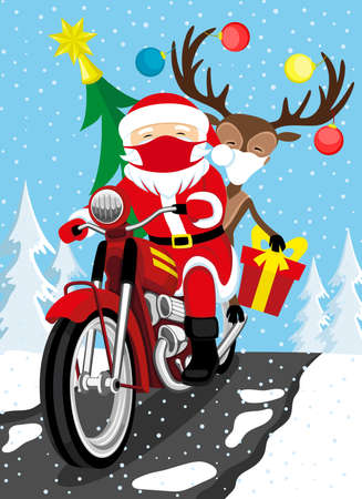 Christmas illustration with Santa Claus and reindeer in protective masks riding a motorcycle with gifts. 向量圖像