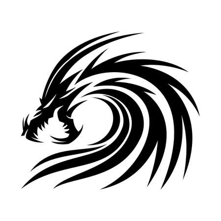 Black angry dragon icon on white background.
