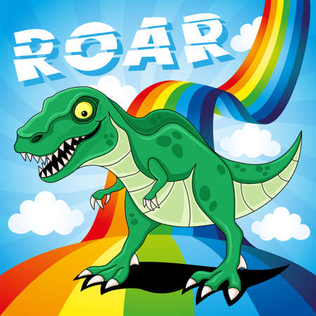 Funny dinosaur on a bright rainbow in the blue sky with clouds.