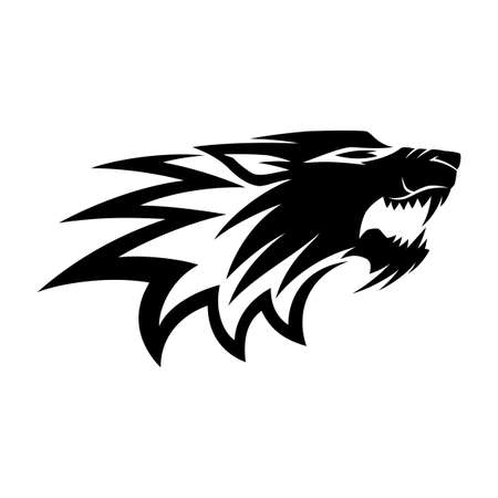 Black angry wolf sign on white background. 向量圖像
