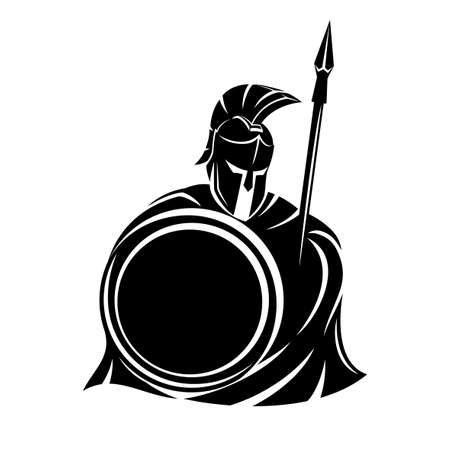 Spartan sign with spear and shield on a white background. 向量圖像