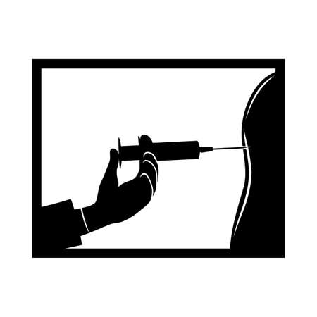 Doctor making vaccination to patient icon on white background. 向量圖像