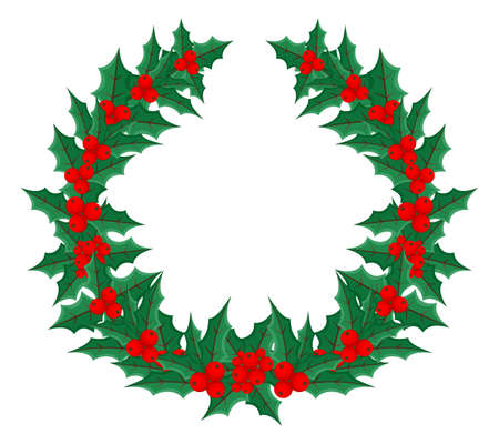 Christmas wreath of holly leaves with berries on a white background.