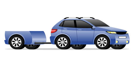 Blue car with a trailer on a white background.