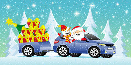 Christmas winter illustration with Santa Claus and snowman in car with gifts. 向量圖像