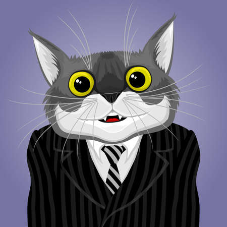 Illustration with a cat in a striped suit with a tie.