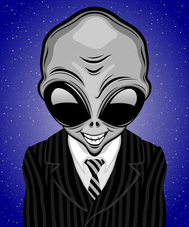 Illustration with extraterrestrial alien in striped suit with tie. 向量圖像