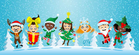 Happy children in Christmas costumes on the background of winter nature.