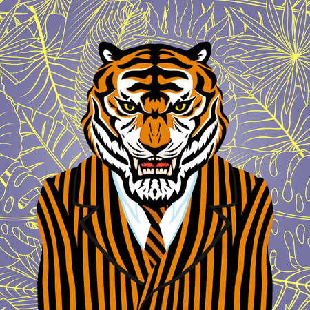 Illustration with tiger in striped suit with tie.