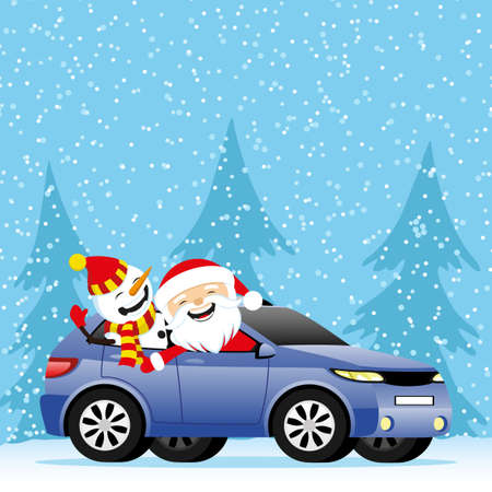 Christmas winter illustration with Santa Claus and snowman in car.