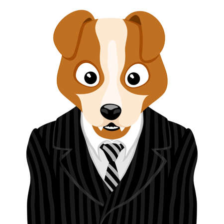 Illustration with dog in striped suit with tie.