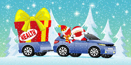 Santa Claus and snowman in the car with a big gift box with health.