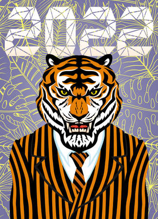 Illustration with a tiger in a striped suit with a tie a symbol of the new year 2022. 向量圖像