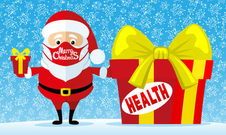 Christmas illustration with Santa Claus in a protective mask with gifts on a winter background.