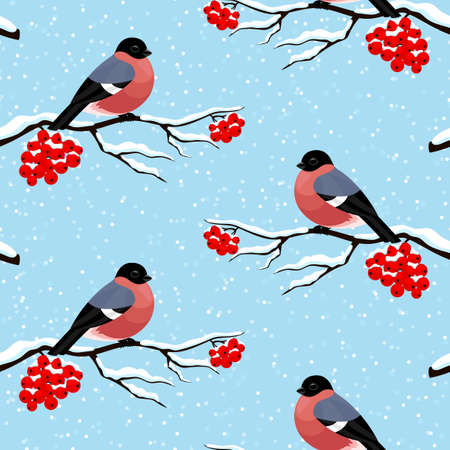 Seamless pattern with bullfinches on rowan branches on a blue background.