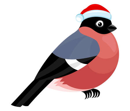 Illustration with cute bullfinch icon isolated on white background. 向量圖像
