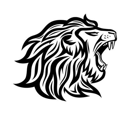 Black roaring lion icon on white background. 向量圖像