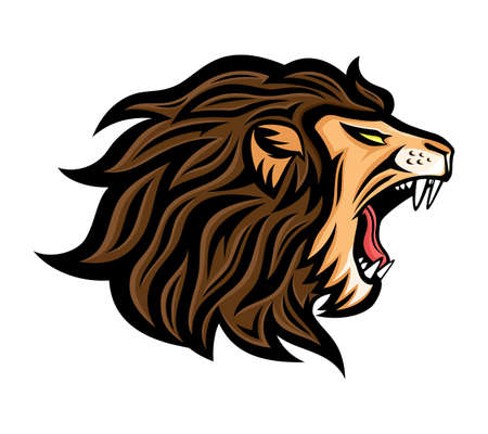 Roaring lion icon on a white background. 向量圖像