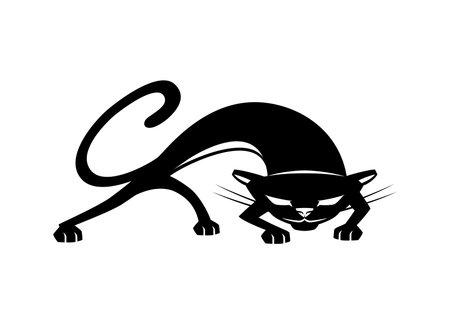 Illustration with black cat icon on white background. 向量圖像