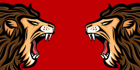 Two angry roaring lions on a red background. 向量圖像