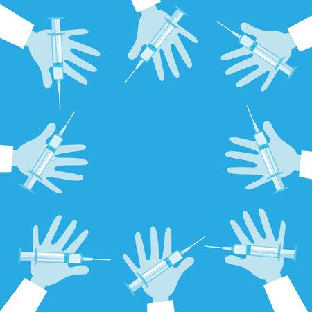 Medical illustration with syringes in hands on blue background. 向量圖像