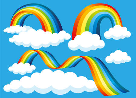 Colorful set with rainbows and clouds on a blue background.