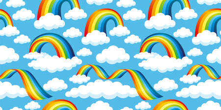 Seamless pattern with bright rainbow and clouds on a blue background.