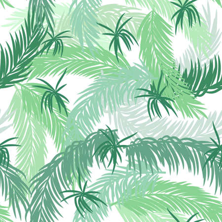 Seamless pattern with palm leaves on white background.